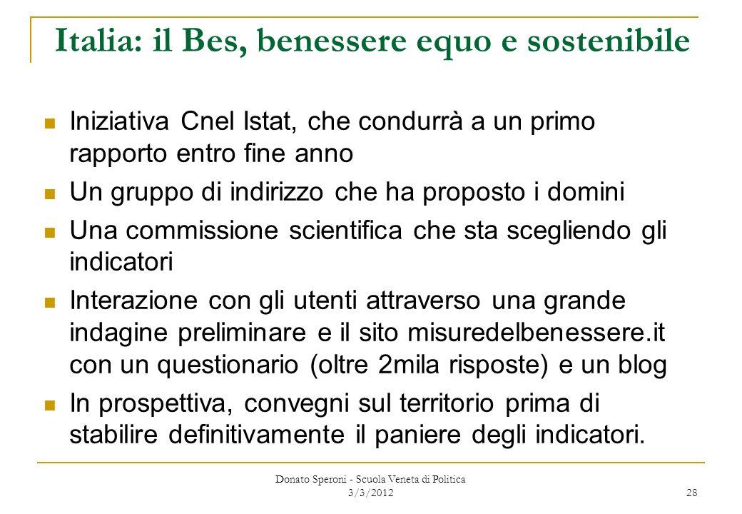 Italia: il Bes, benessere equo e sostenibile