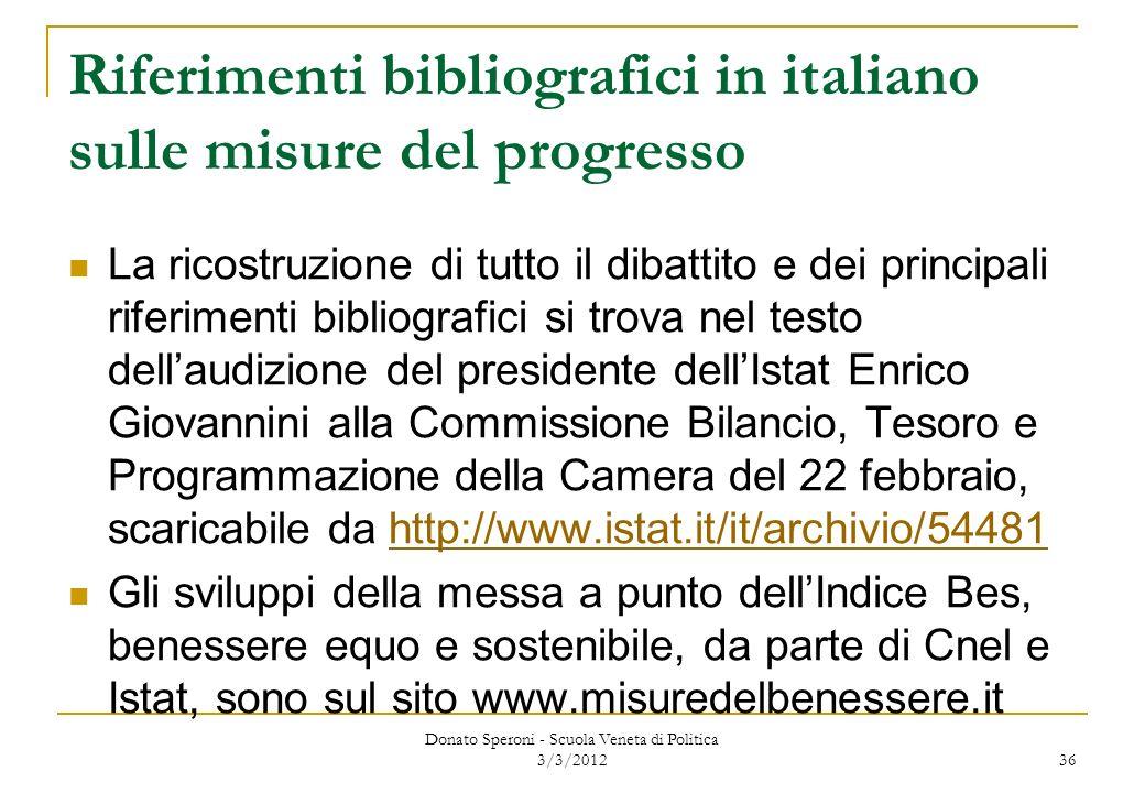 Riferimenti bibliografici in italiano sulle misure del progresso