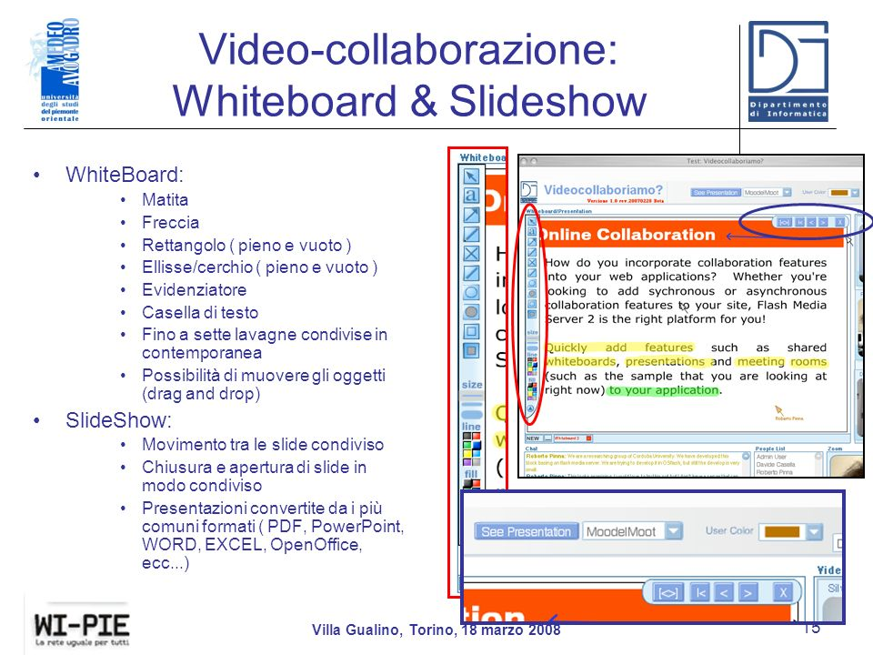 Video-collaborazione: Whiteboard & Slideshow