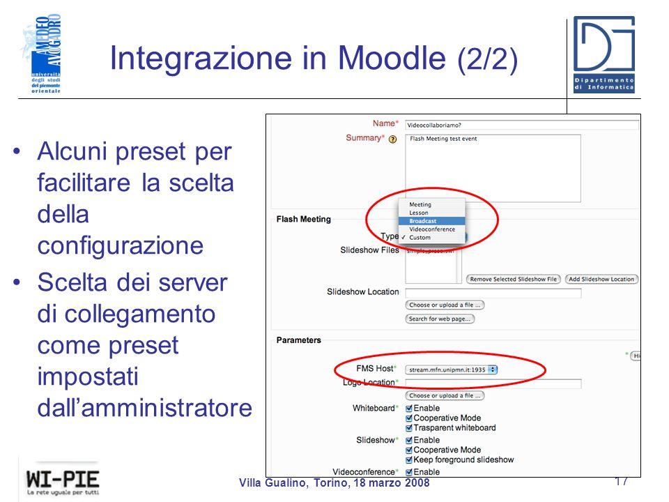 Integrazione in Moodle (2/2)