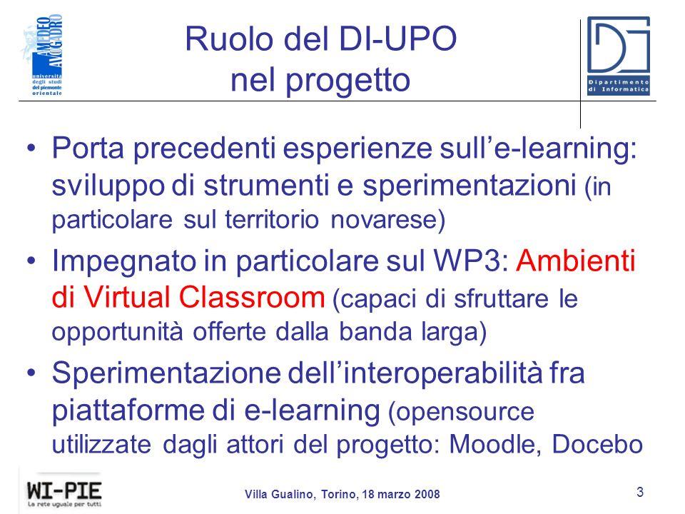 Ruolo del DI-UPO nel progetto