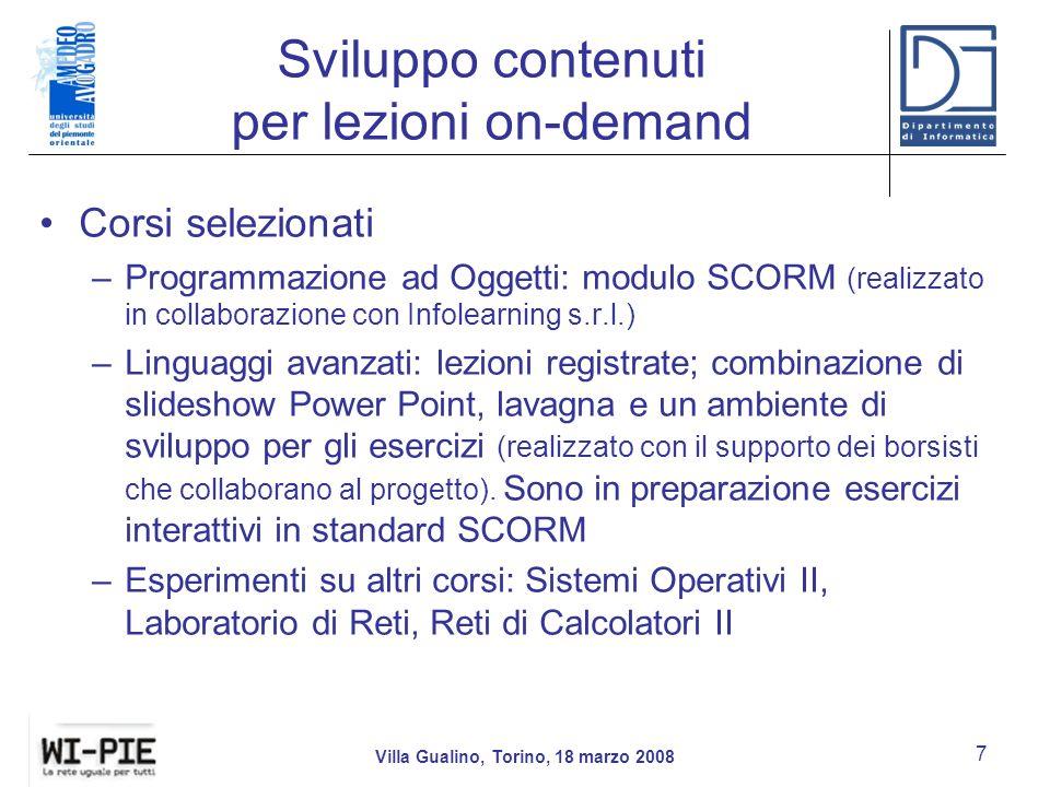 Sviluppo contenuti per lezioni on-demand