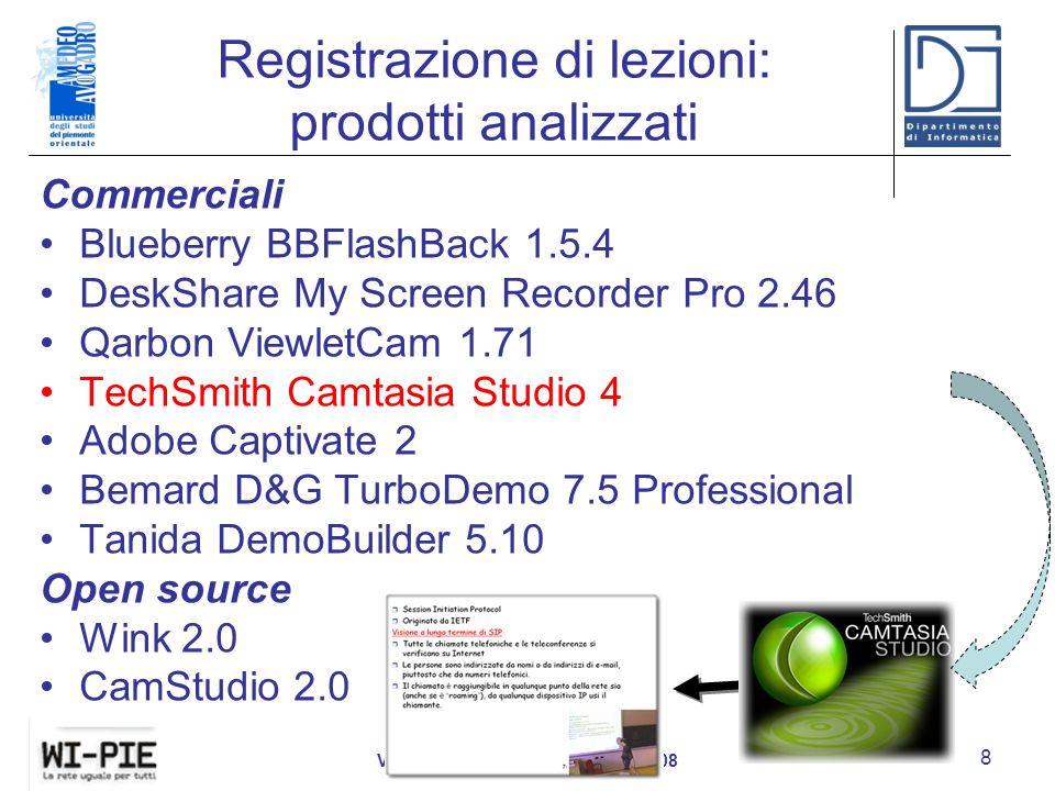 Registrazione di lezioni: prodotti analizzati