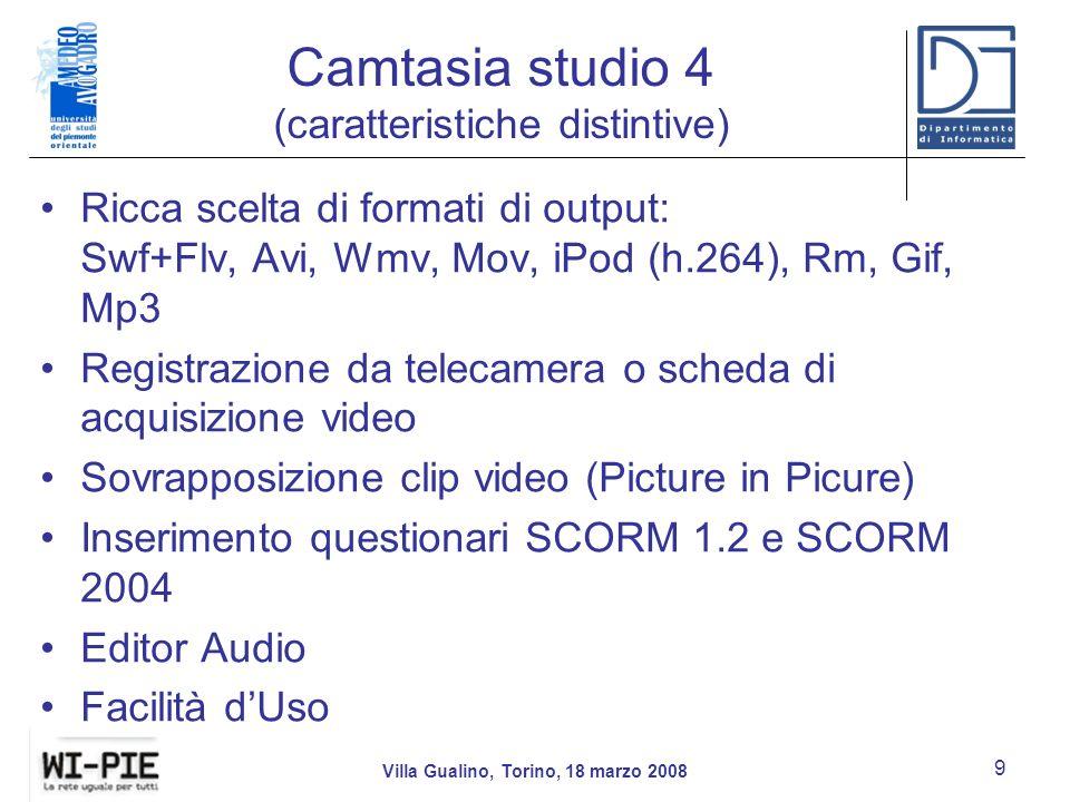 Camtasia studio 4 (caratteristiche distintive)