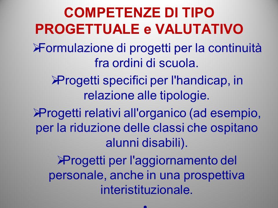 COMPETENZE DI TIPO PROGETTUALE e VALUTATIVO