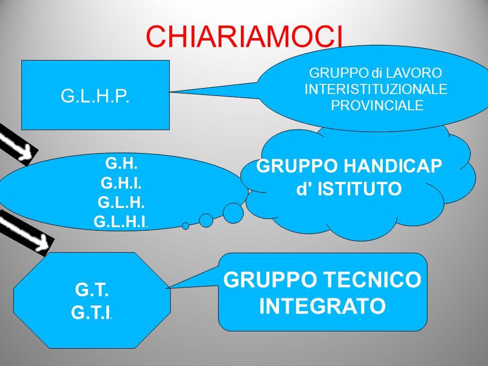 CHIARIAMOCI GRUPPO TECNICO INTEGRATO G.L.H.P. GRUPPO HANDICAP
