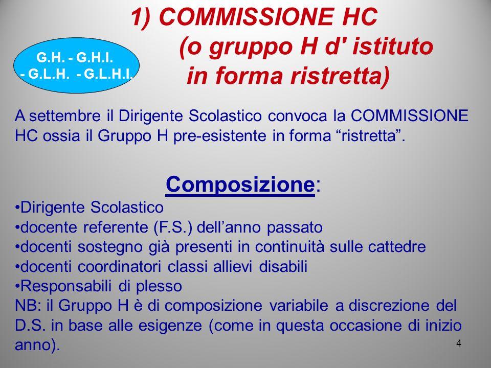 COMMISSIONE HC (o gruppo H d istituto in forma ristretta)