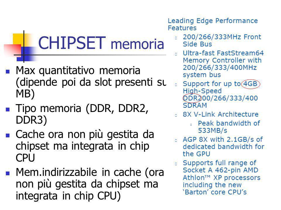 CHIPSET memoria Max quantitativo memoria (dipende poi da slot presenti su MB) Tipo memoria (DDR, DDR2, DDR3)