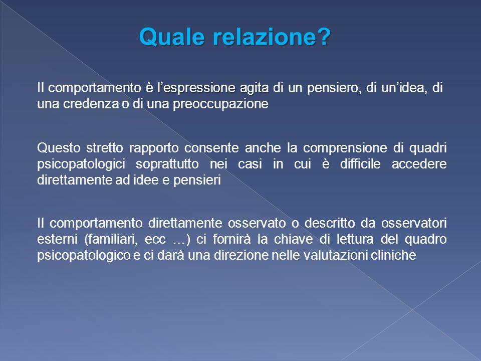 Quale relazione Il comportamento è l'espressione agita di un pensiero, di un'idea, di una credenza o di una preoccupazione.