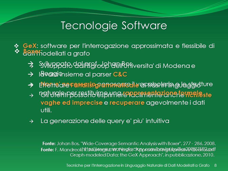Tecnologie Software GeX: software per l interrogazione approssimata e flessibile di dati modellati a grafo.