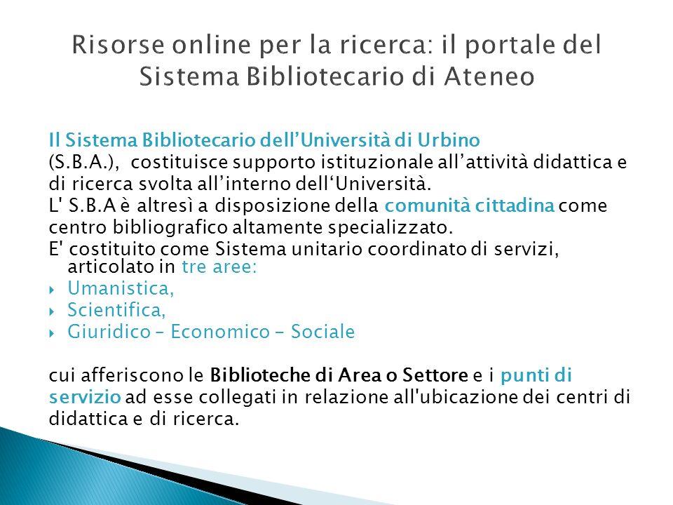 Risorse online per la ricerca: il portale del Sistema Bibliotecario di Ateneo