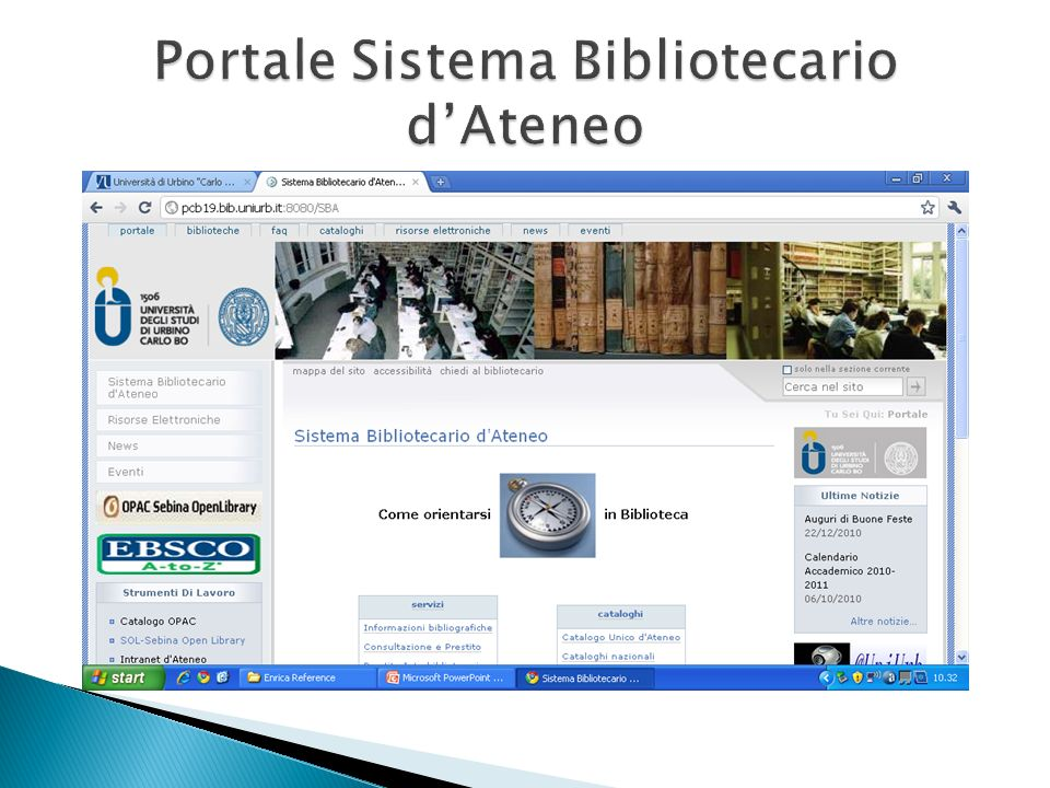 Portale Sistema Bibliotecario d'Ateneo