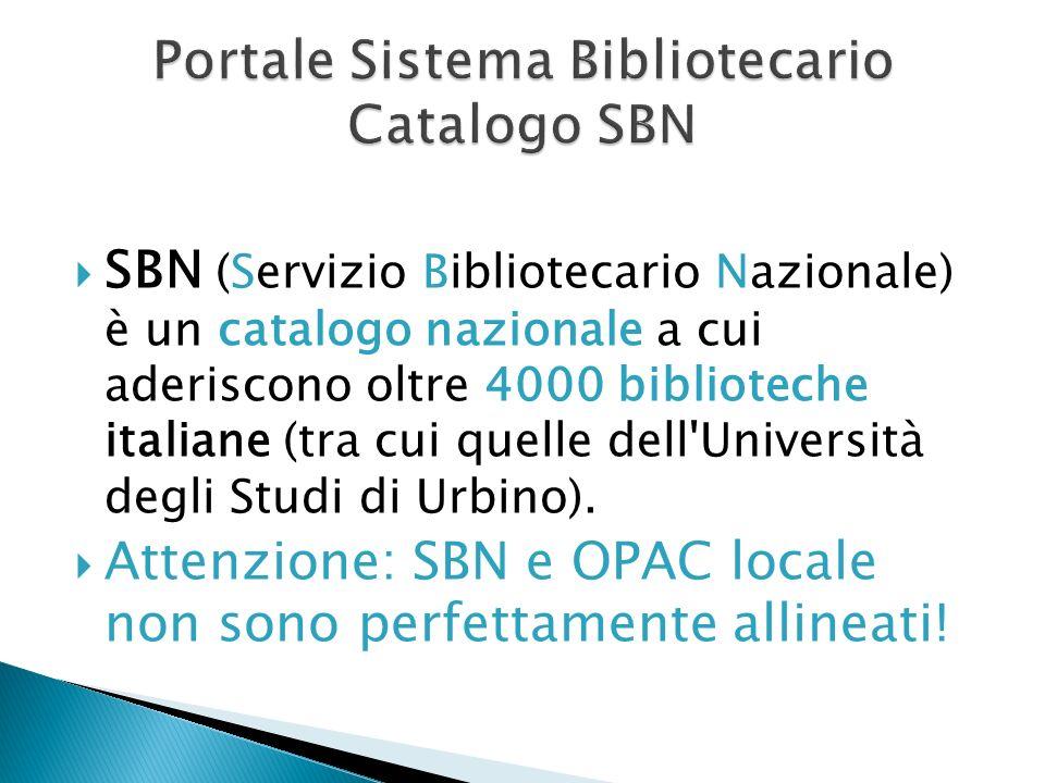 Portale Sistema Bibliotecario Catalogo SBN