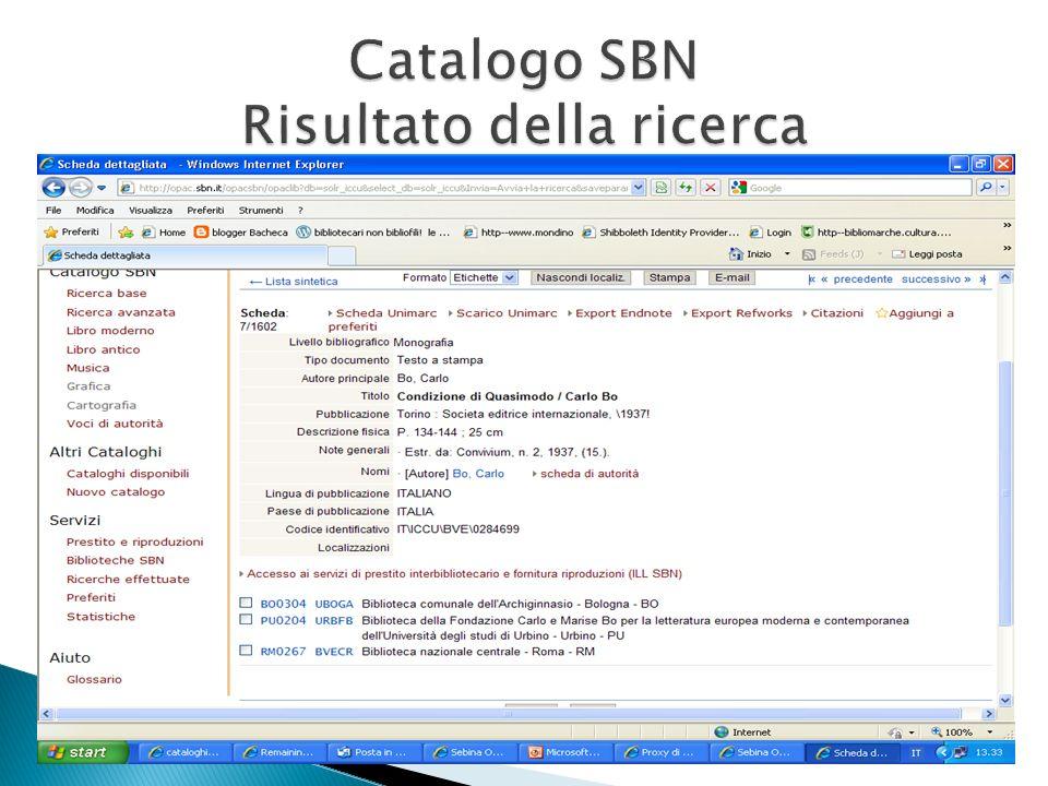Catalogo SBN Risultato della ricerca