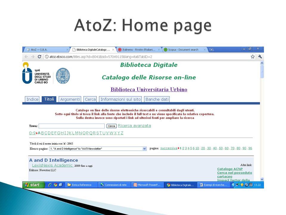AtoZ: Home page