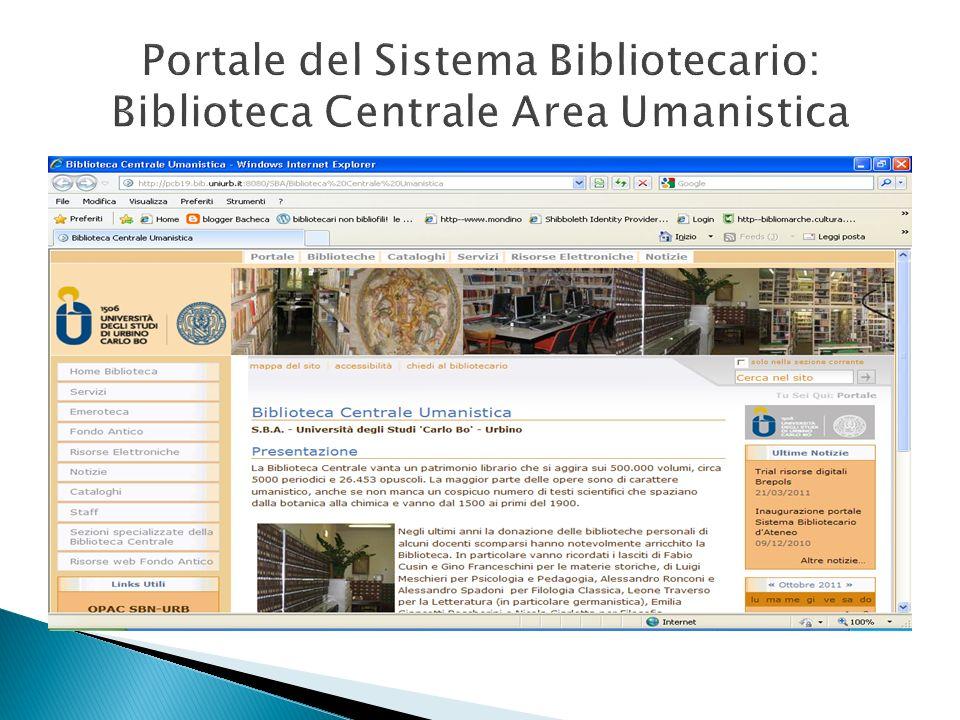 Portale del Sistema Bibliotecario: Biblioteca Centrale Area Umanistica