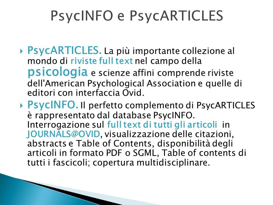 PsycINFO e PsycARTICLES