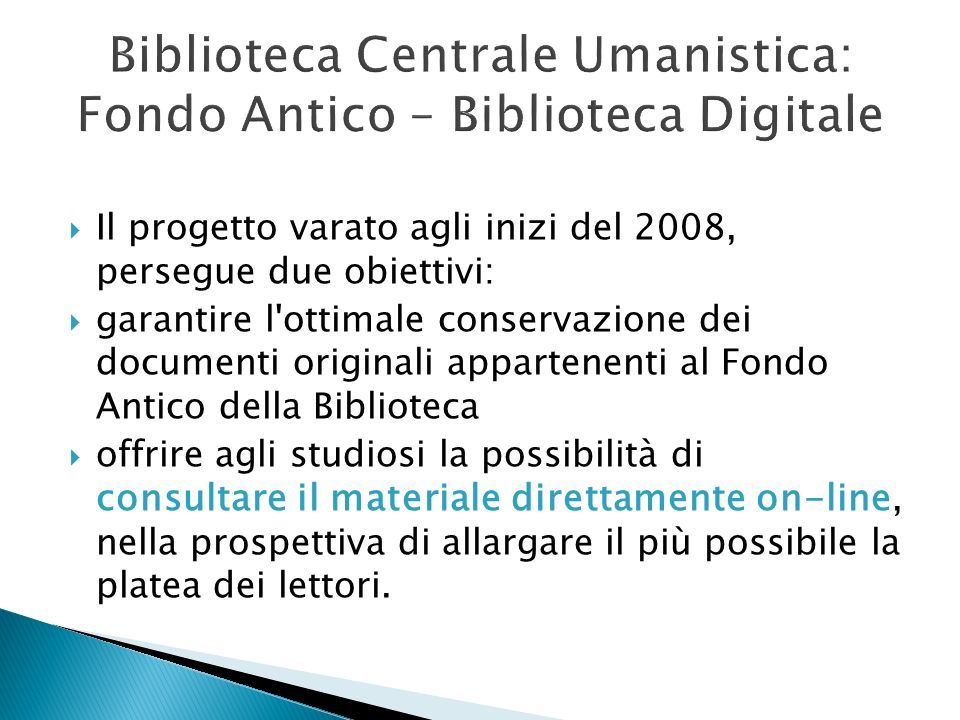 Biblioteca Centrale Umanistica: Fondo Antico – Biblioteca Digitale
