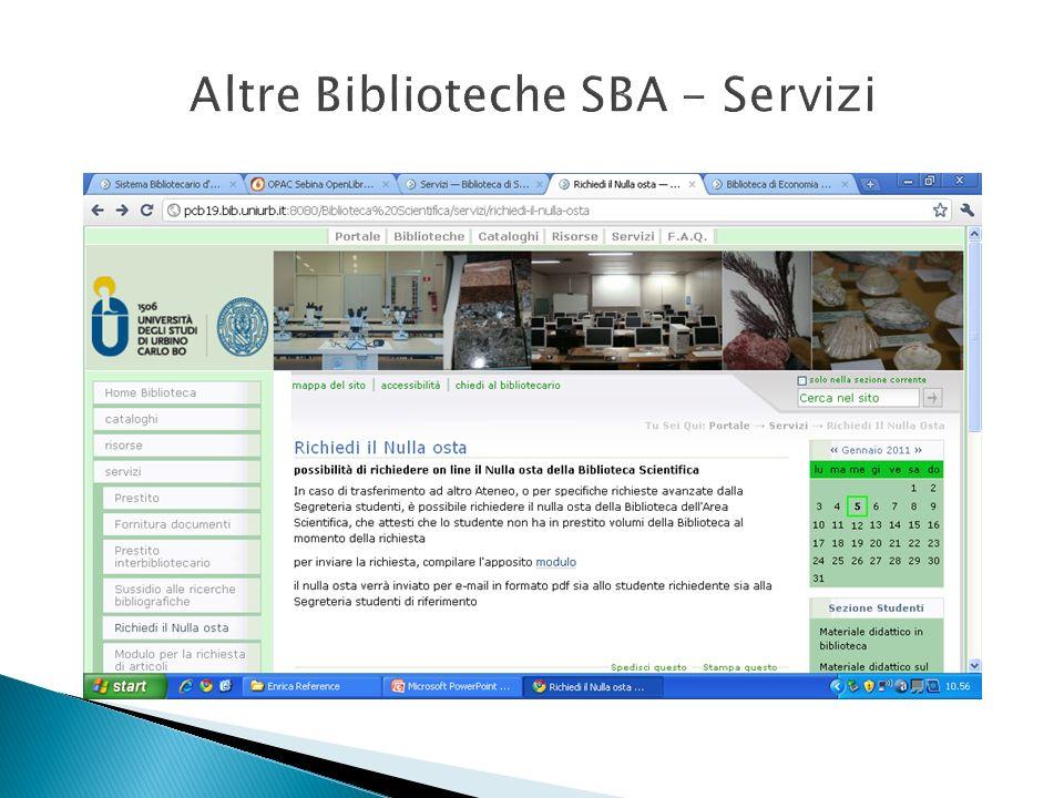 Altre Biblioteche SBA - Servizi