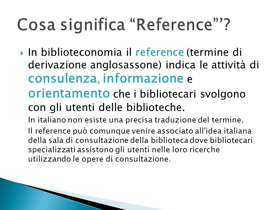 Cosa significa Reference '