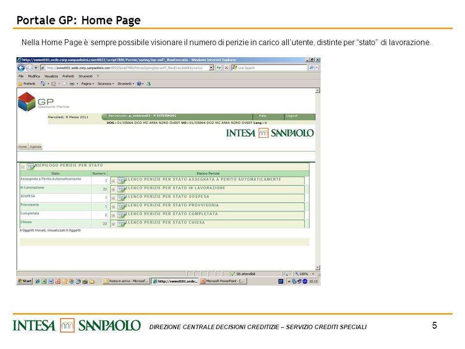 Portale GP: Home Page Nella Home Page è sempre possibile visionare il numero di perizie in carico all'utente, distinte per stato di lavorazione.