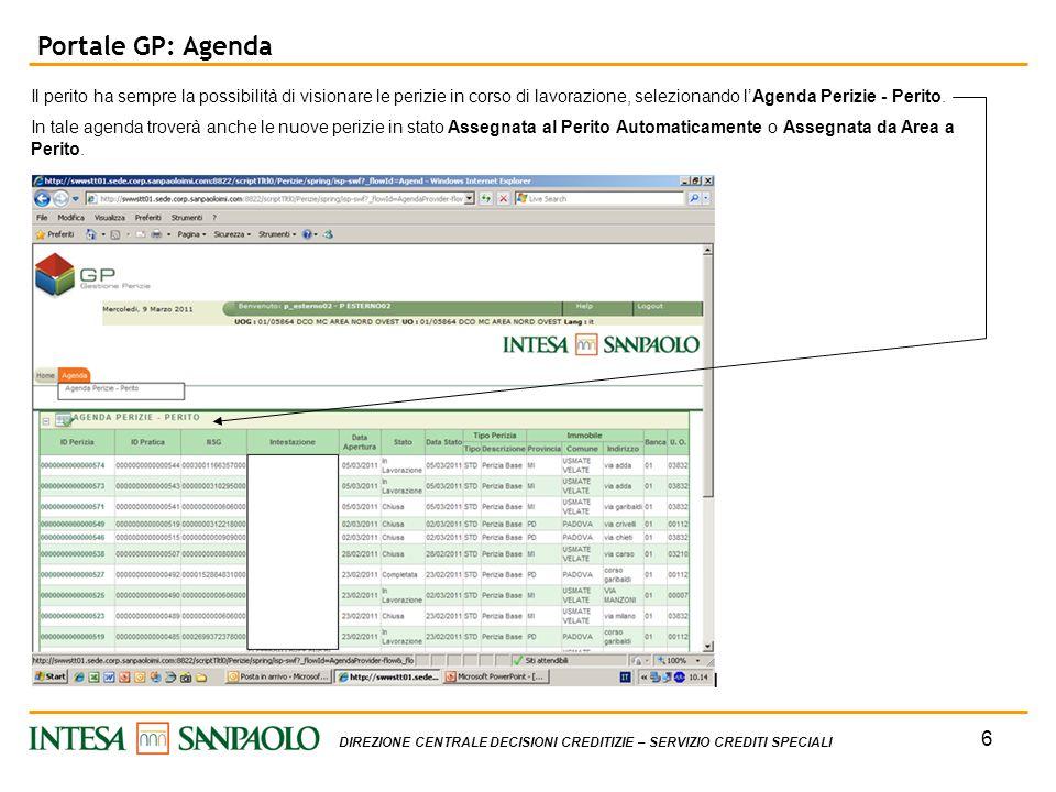 Portale GP: Agenda Il perito ha sempre la possibilità di visionare le perizie in corso di lavorazione, selezionando l'Agenda Perizie - Perito.