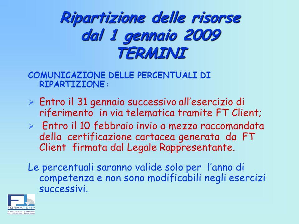 Ripartizione delle risorse dal 1 gennaio 2009 TERMINI