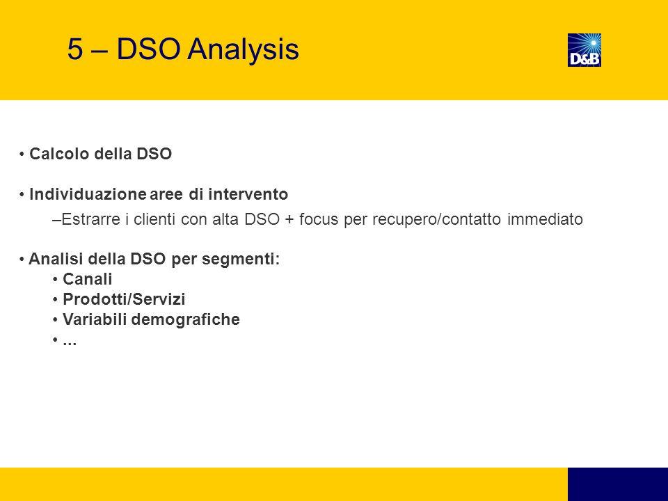 5 – DSO Analysis Calcolo della DSO Individuazione aree di intervento