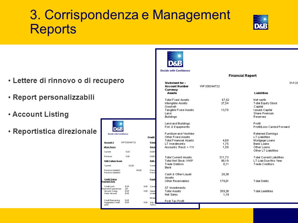 3. Corrispondenza e Management Reports