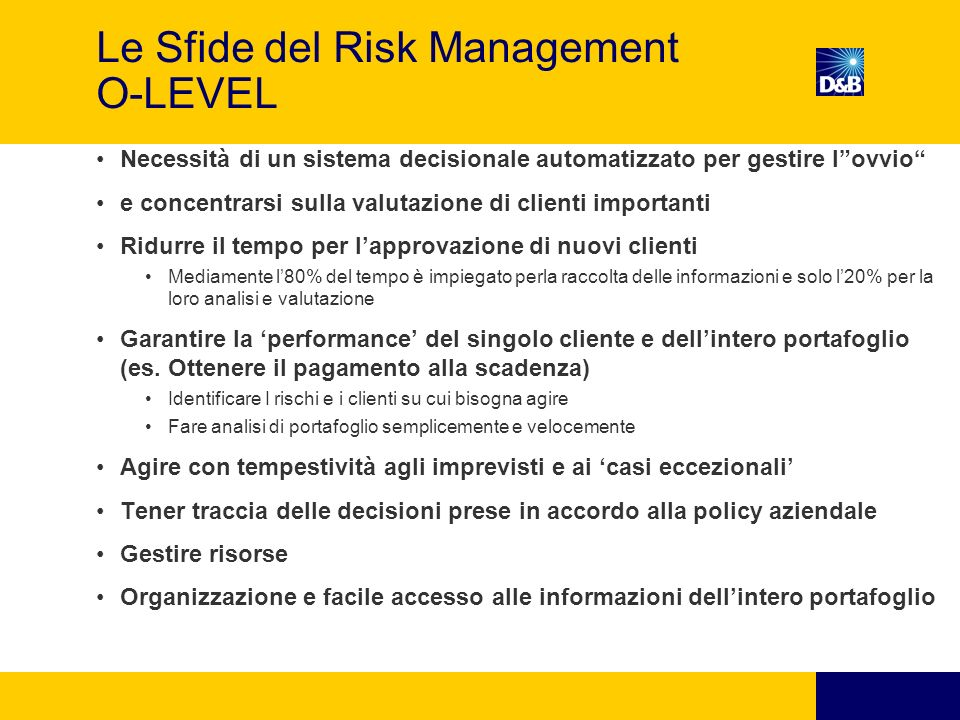 Le Sfide del Risk Management O-LEVEL