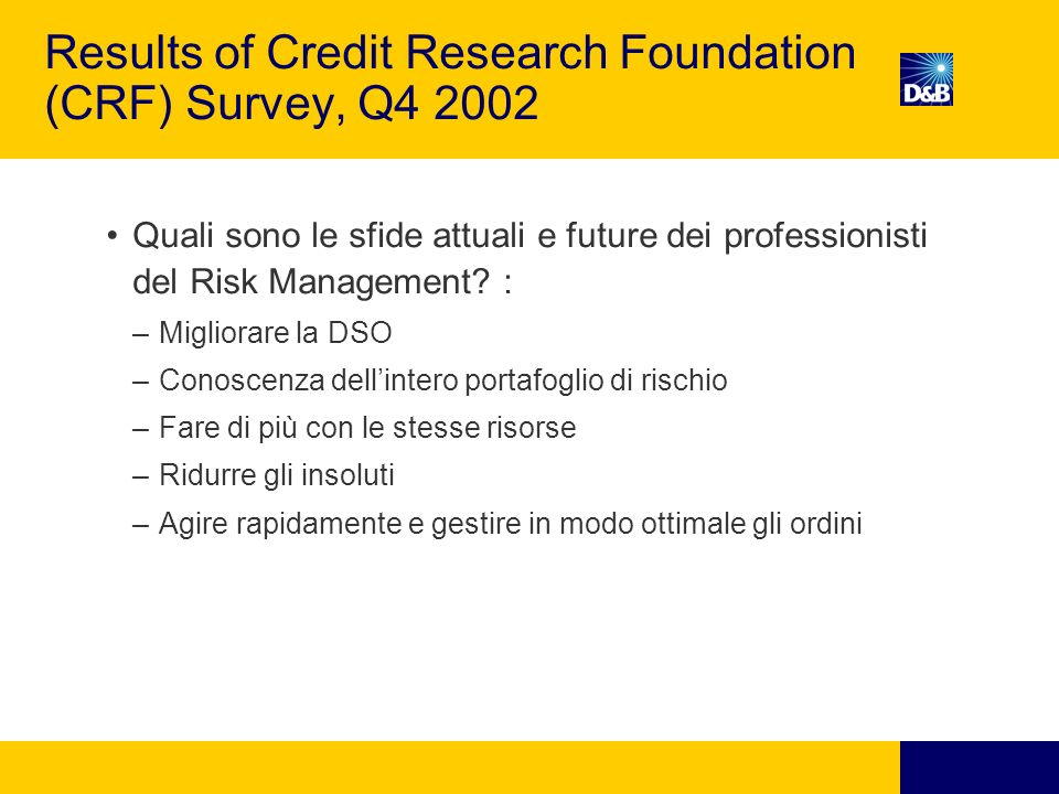 Results of Credit Research Foundation (CRF) Survey, Q4 2002