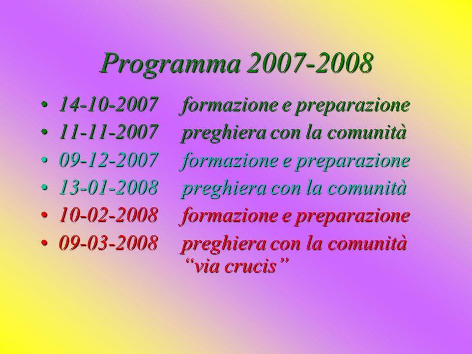 Programma 2007-2008 14-10-2007 formazione e preparazione
