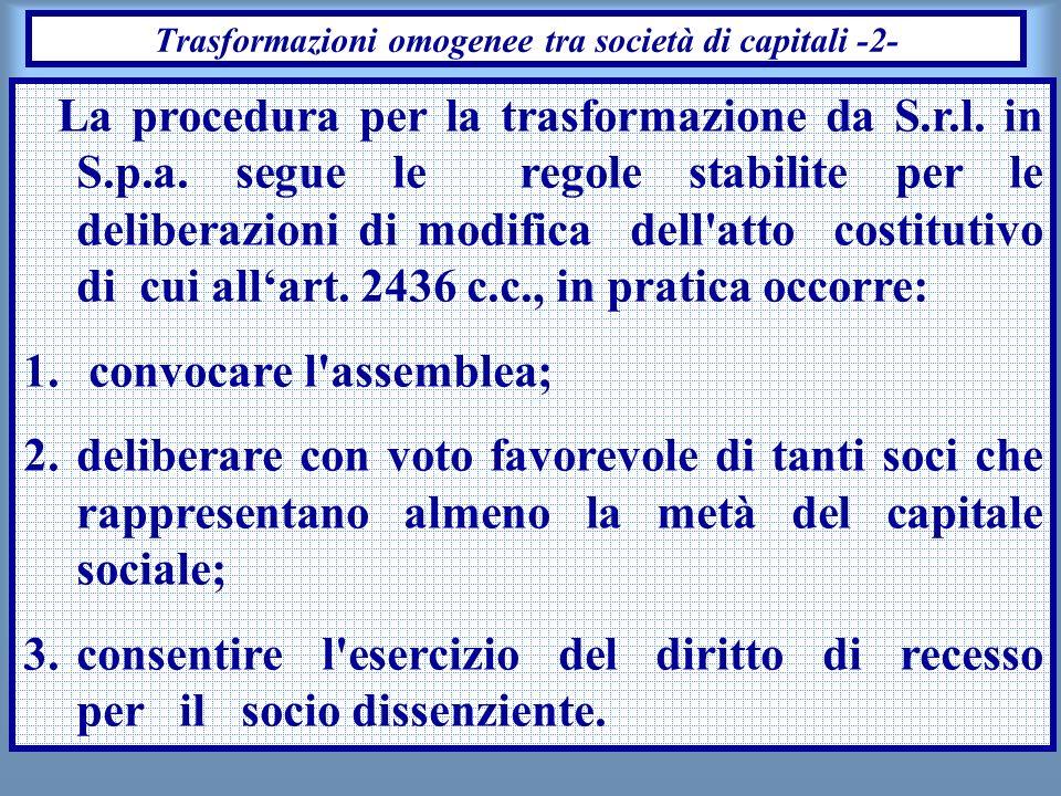 Trasformazioni omogenee tra società di capitali -2-