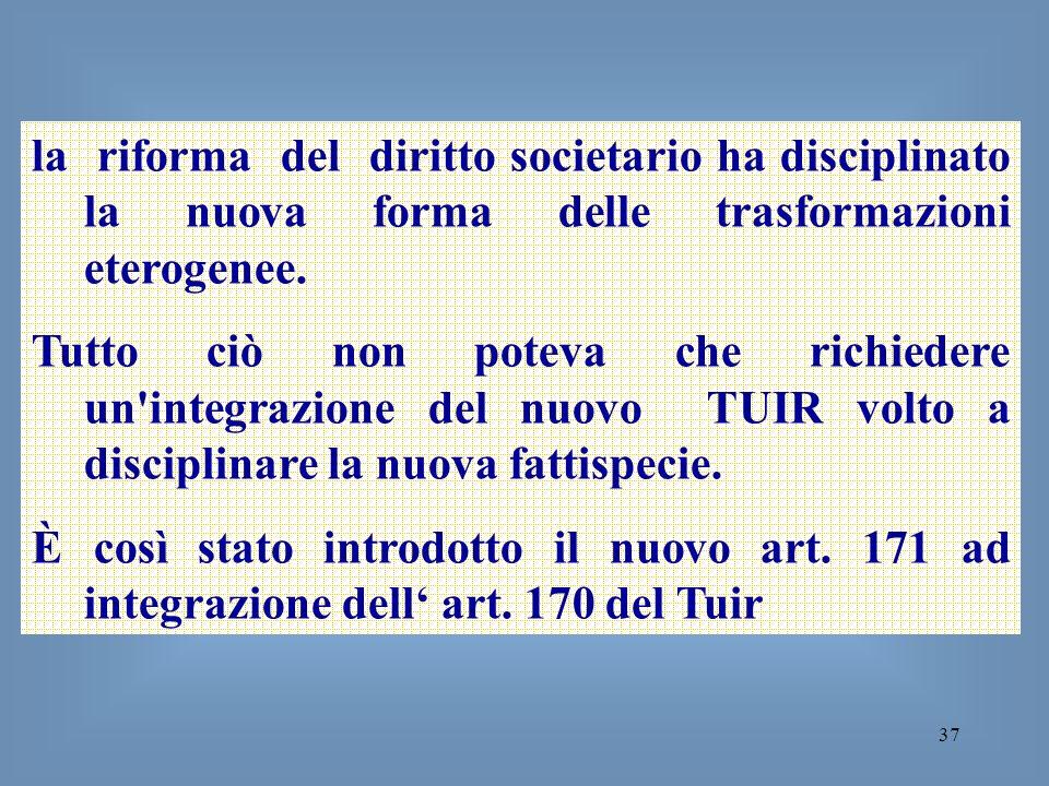 la riforma del diritto societario ha disciplinato la nuova forma delle trasformazioni eterogenee.