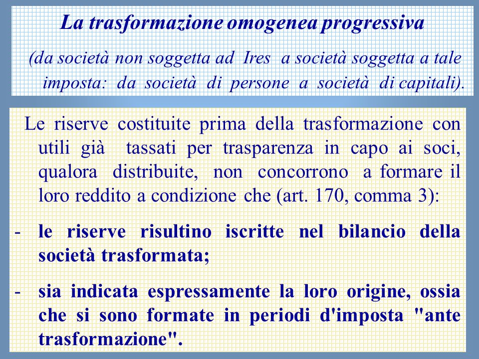 La trasformazione omogenea progressiva
