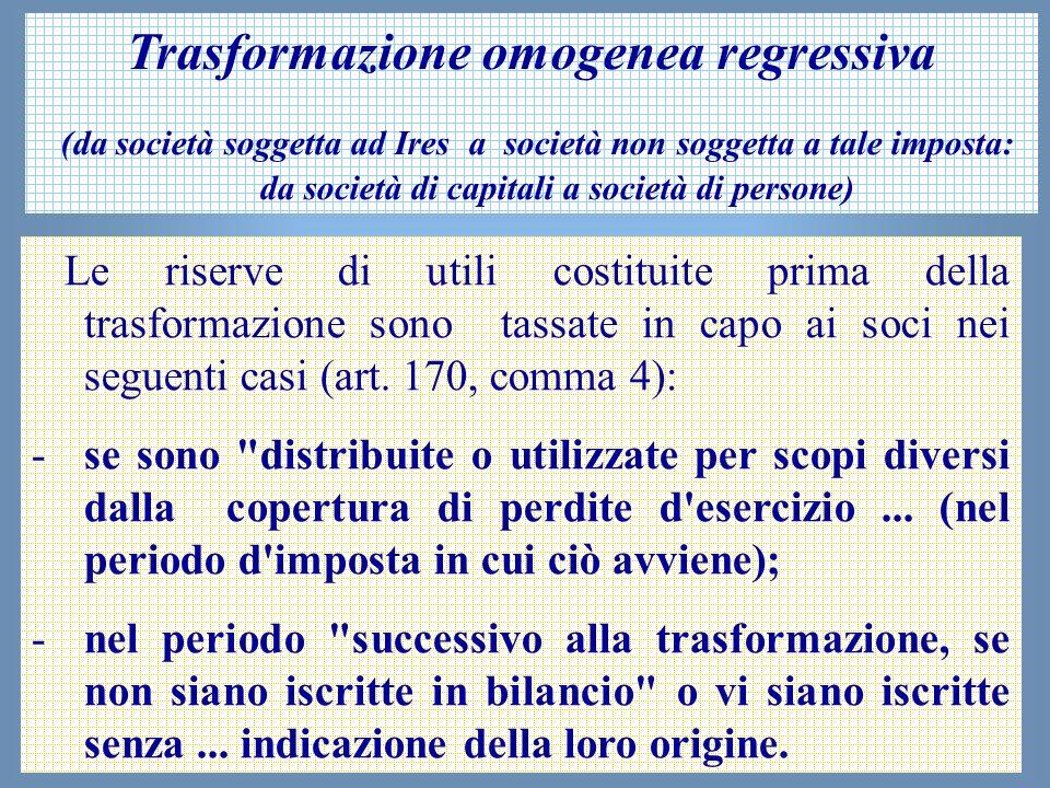 Trasformazione omogenea regressiva