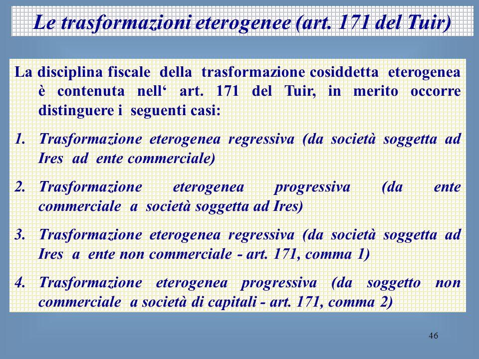 Le trasformazioni eterogenee (art. 171 del Tuir)