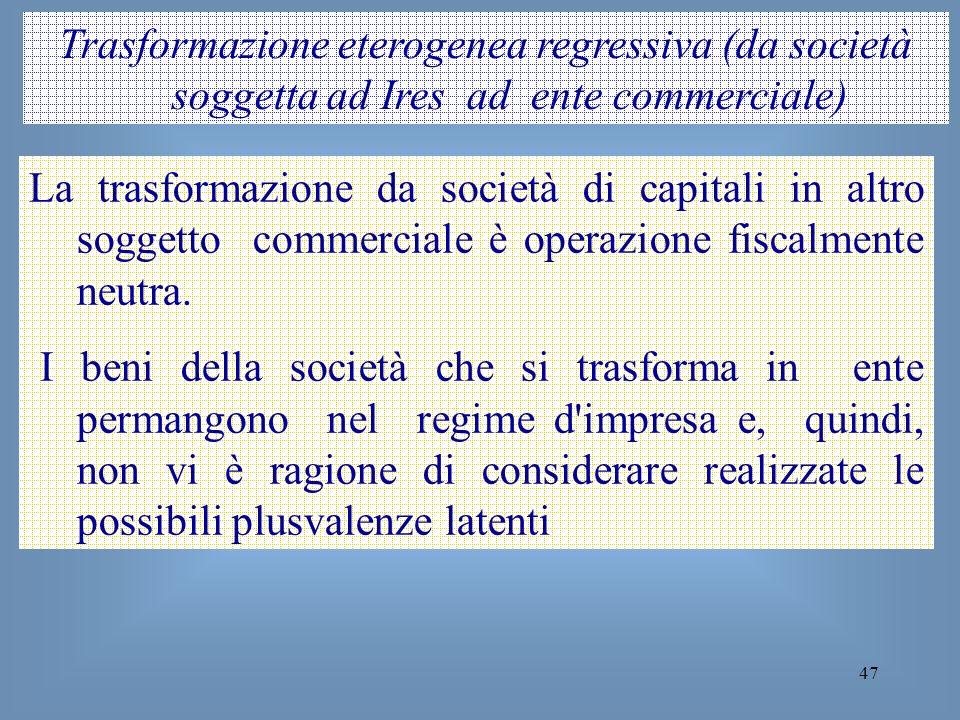 Trasformazione eterogenea regressiva (da società soggetta ad Ires ad ente commerciale)