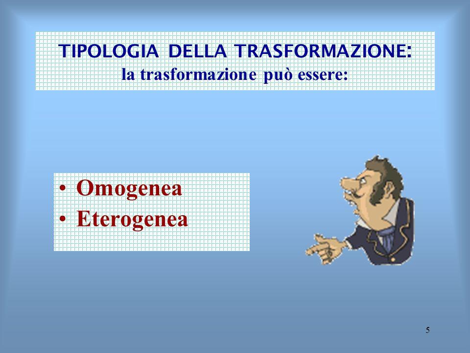 TIPOLOGIA DELLA TRASFORMAZIONE: la trasformazione può essere: