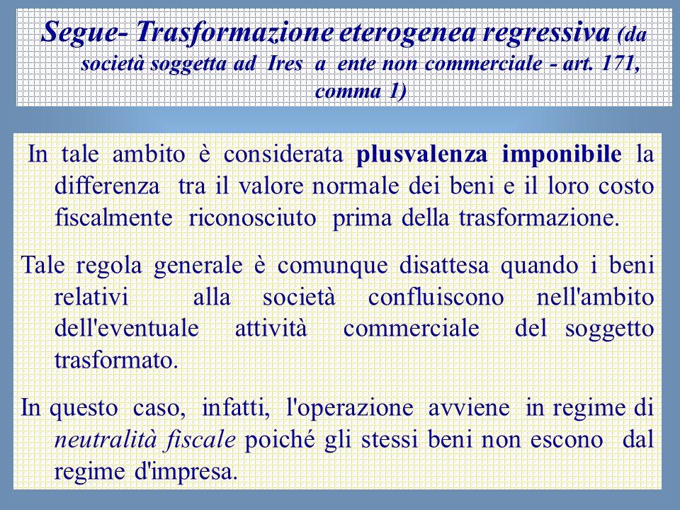 Segue- Trasformazione eterogenea regressiva (da società soggetta ad Ires a ente non commerciale - art. 171, comma 1)