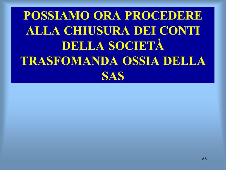 POSSIAMO ORA PROCEDERE ALLA CHIUSURA DEI CONTI DELLA SOCIETÀ TRASFOMANDA OSSIA DELLA SAS
