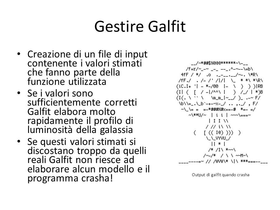 Gestire Galfit Creazione di un file di input contenente i valori stimati che fanno parte della funzione utilizzata.