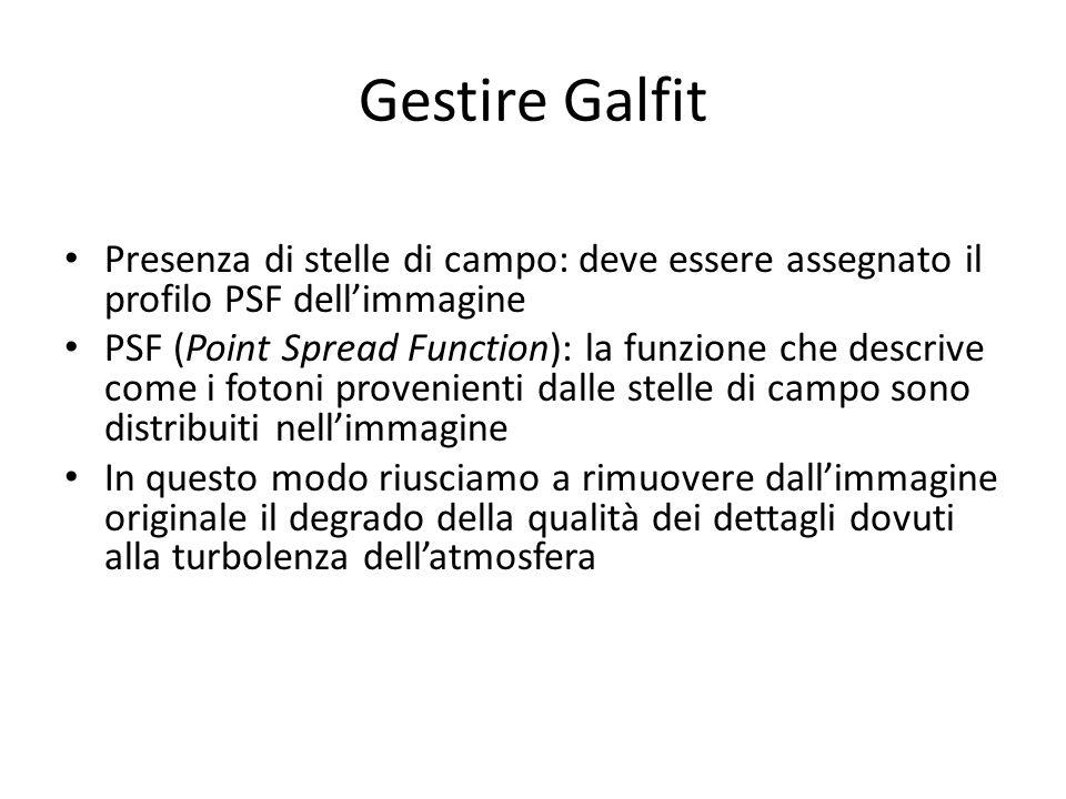 Gestire Galfit Presenza di stelle di campo: deve essere assegnato il profilo PSF dell'immagine.