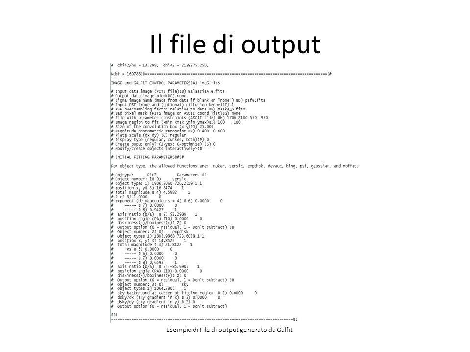 Il file di output Esempio di File di output generato da Galfit