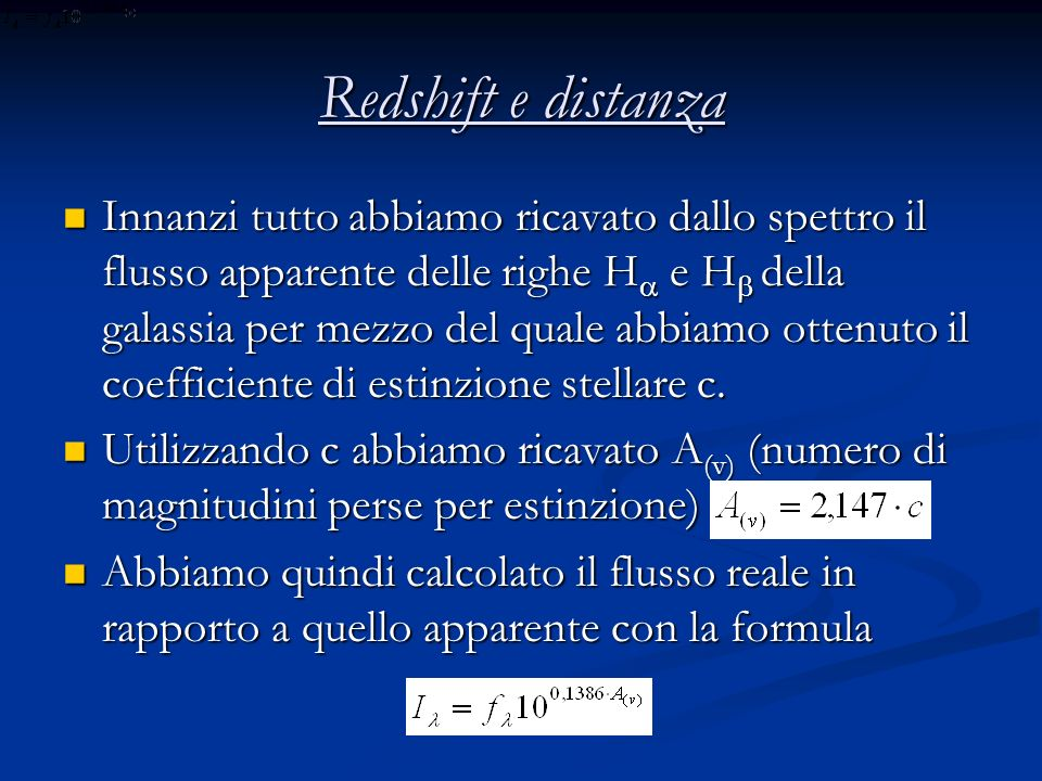 Redshift e distanza