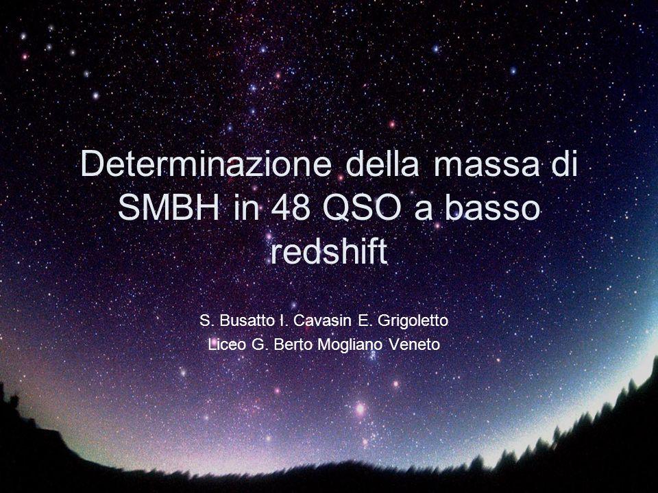 Determinazione della massa di SMBH in 48 QSO a basso redshift
