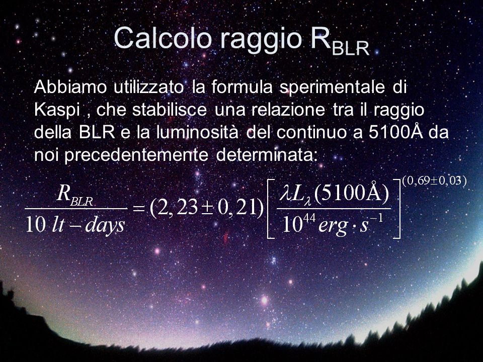 Calcolo raggio RBLR