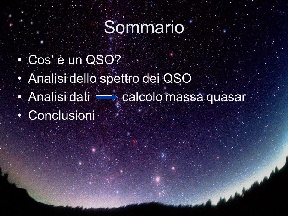 Sommario Cos' è un QSO Analisi dello spettro dei QSO