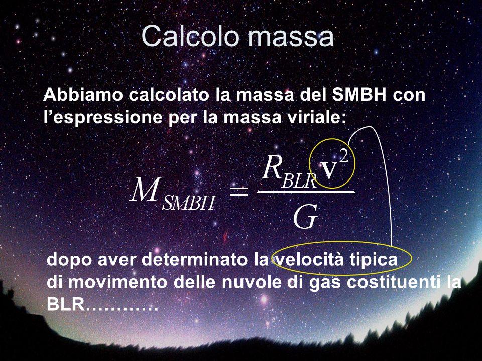 Calcolo massa Abbiamo calcolato la massa del SMBH con l'espressione per la massa viriale: dopo aver determinato la velocità tipica.