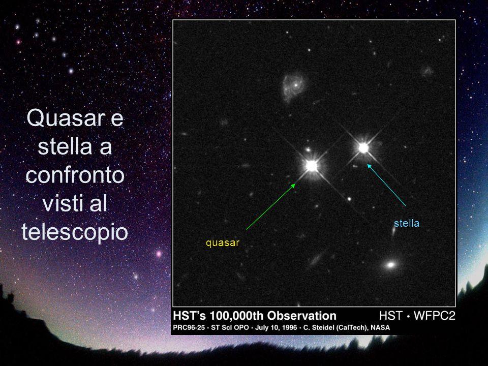 Quasar e stella a confronto visti al telescopio